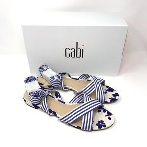 Cabi Tied Up Blue White Stripe Sandals 6013 10